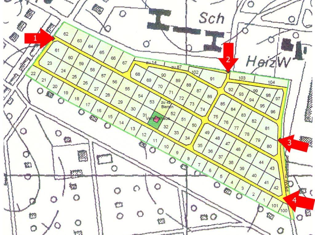Lageplan der Kleingartenanlage